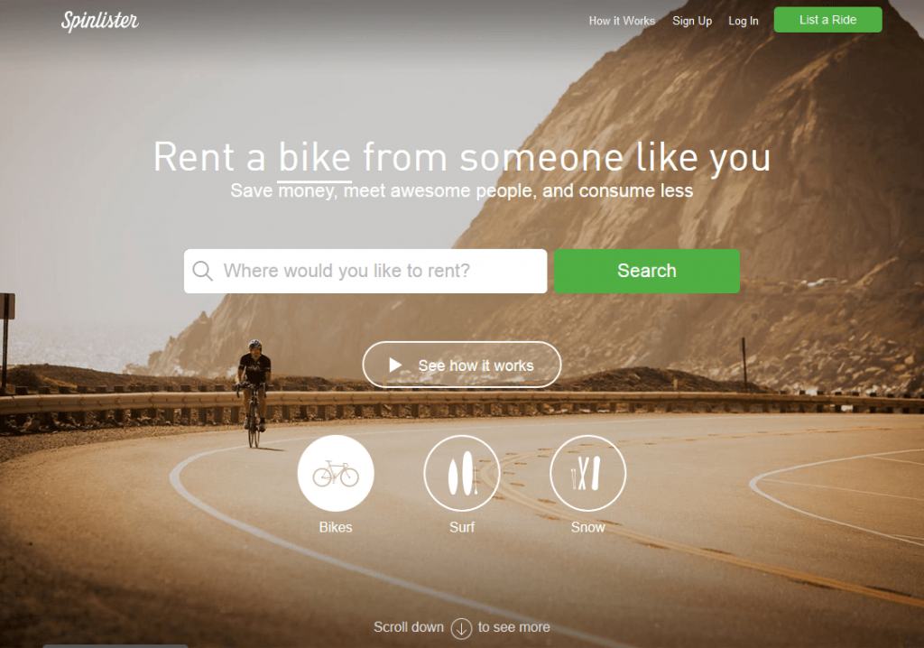 Find a ride to rent Spinlister